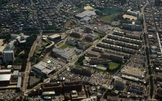 九州国立大学 航空写真とCGの合成